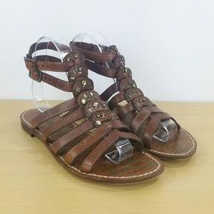 Sam Edelman Womans Gladiator Sandals Sz 7.5 Brown